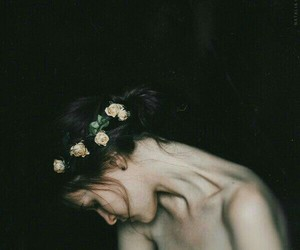 girl, flowers, and dark image