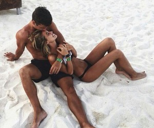 beach, romance, and couple image