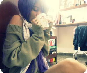 coffe, girl, and purple hair image