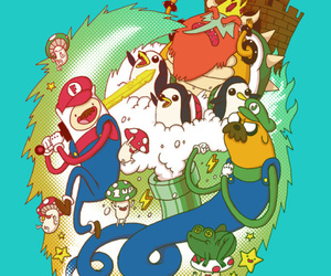 adventure time, JAKe, and mario image