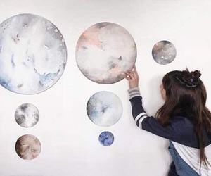 planet, art, and girl image