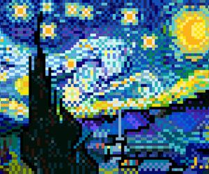 van gogh, pixel, and starry night image