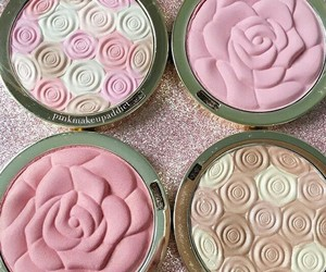 blush, flower, and makeup image