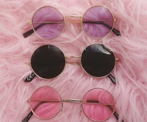 pink, sunglasses, and black image