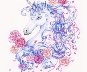 flowers, awesome, and unicorn image