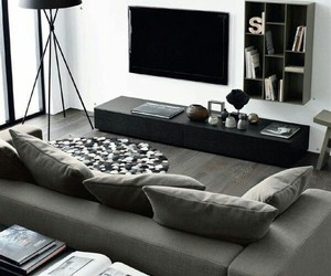 black, interior, and living room image