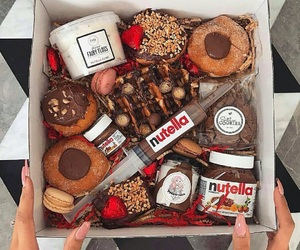 chocolate, donuts, and nutella image