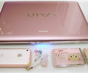 pink, cute, and laptop image