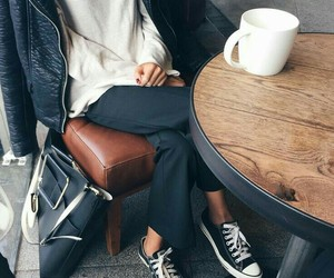 bag, chic, and cup of coffee image
