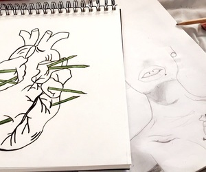 coeur, flower, and dessin image