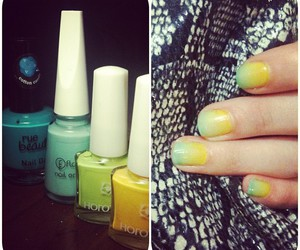 nails, ombre, and yellow image