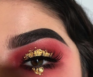 makeup, eye, and gold image