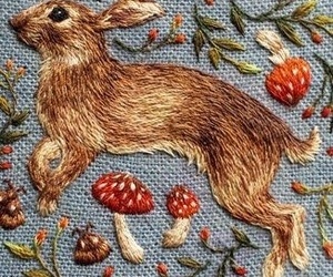 bunny, embroidery, and rabbit image