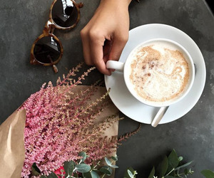 coffee, flowers, and happy image