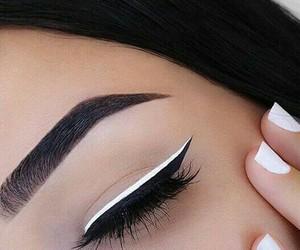 black, eyeliner, and hair image