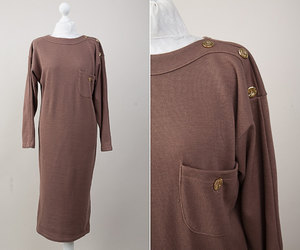 etsy, long sleeve dress, and cacao brown dress image