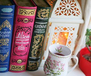 book, tea, and alice image