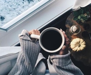 coffee, knit, and snow image