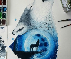 art, live, and wolf image