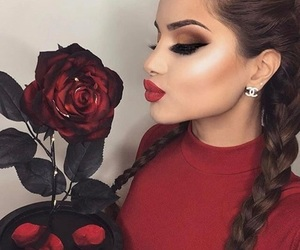 makeup, rose, and red image