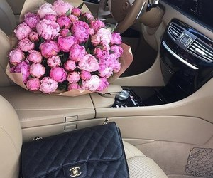 car, chanel, and flowers image