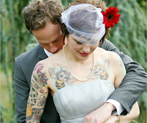 tattoo, couple, and wedding image