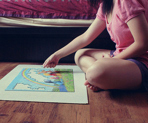 girl, puzzle, and photography image