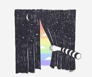 black&white, dark, and rainbow image