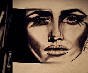 art, black and white, and feeling image