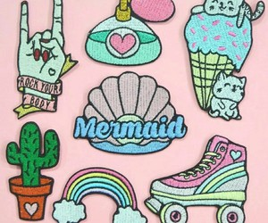 mermaid, patches, and moda image