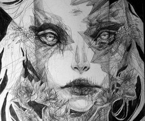 art, black and white, and eyes image