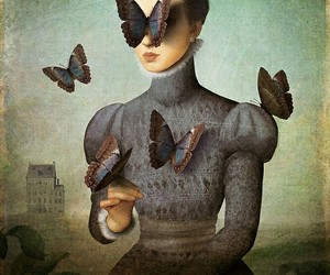 art, butterfly, and painting image