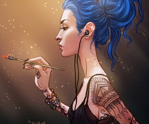 anime girl, art, and blue hair image