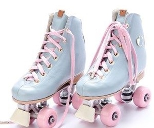 blue, pink, and rollerblades image
