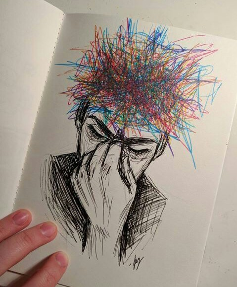 anxiety, boy, and draw image