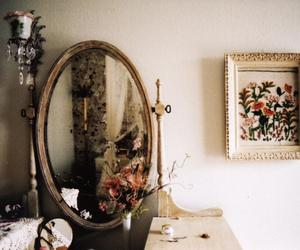 vintage, mirror, and flowers image