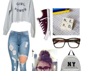 clothes, geek, and jeans image