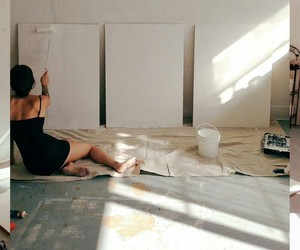 painting, white, and girl image