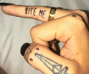 black, finger, and tattoo image