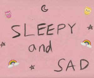 pink, sad, and sleepy image