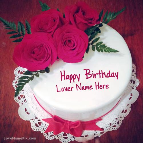 Astonishing Roses Birthday Cake For Lover Name Generator On We Heart It Personalised Birthday Cards Bromeletsinfo