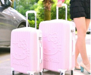 baggage, pink, and suitcases image