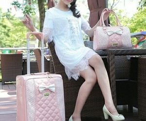 bag, lace, and luggage image