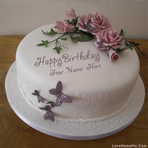Magnificent Butterfly Roses Birthday Cake Name Generator On We Heart It Personalised Birthday Cards Veneteletsinfo