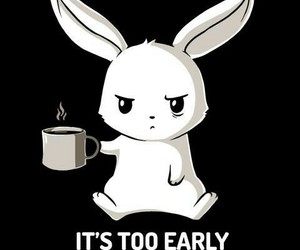 bunny, coffee, and morning image