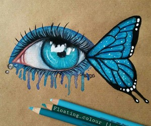 blue, butterfly, and eye image