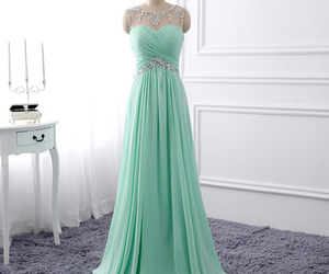 mint green, prom dress, and chiffon image