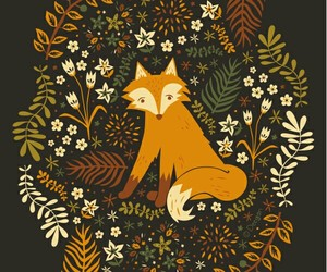 fox, art, and flowers image