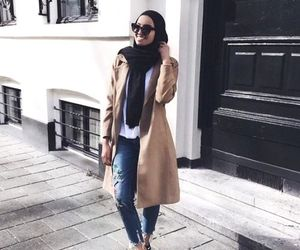 trench jacket hijab look image