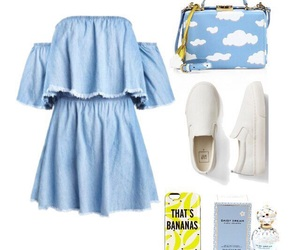 bananas, blue, and clothes image